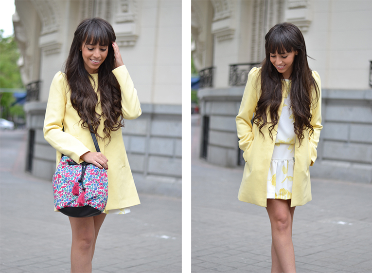 La redoute outfit, yellow coat with a bow, floral print dress, coral sandals, floral bag