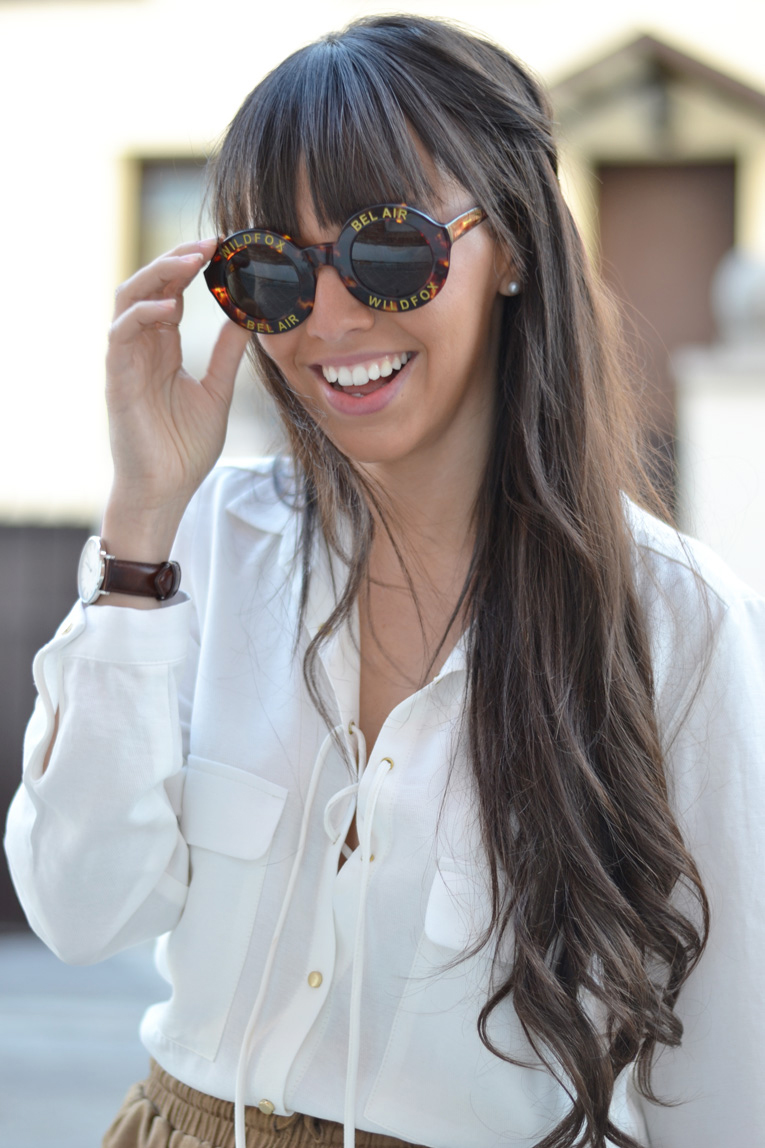 White shirt with lace-up, wildfox sunglasses, street style