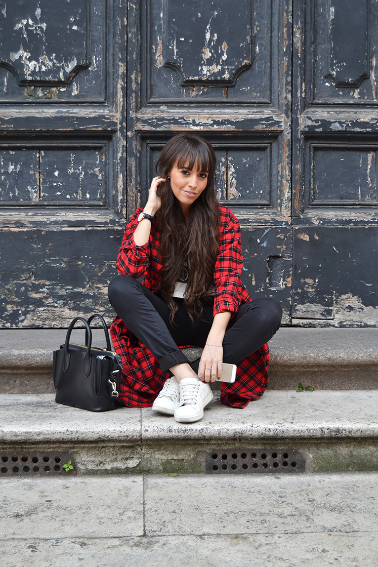 Street style, tartan shirt dress, crop top, high waisted black pants, white sneakers, rome, italy