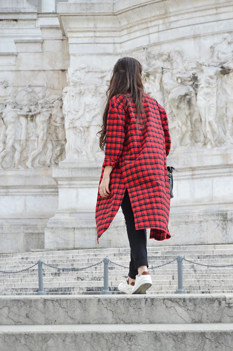 Street style, tartan shirt dress, crop top, high waisted black pants, white sneakers, rome, italy