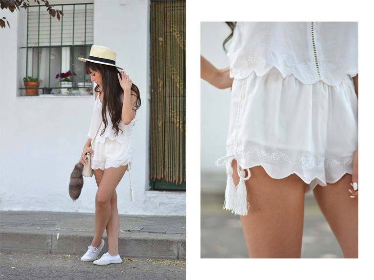 Summer outfit, total white outfit, matchy matchy, two pieces set, backless top, hat