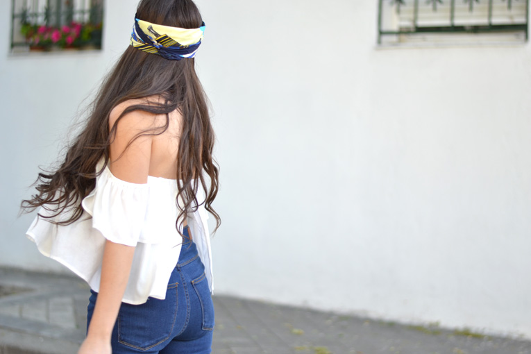 street style, off the shoulder white crop top, turban, high waisted pants, flatforms espadrilles