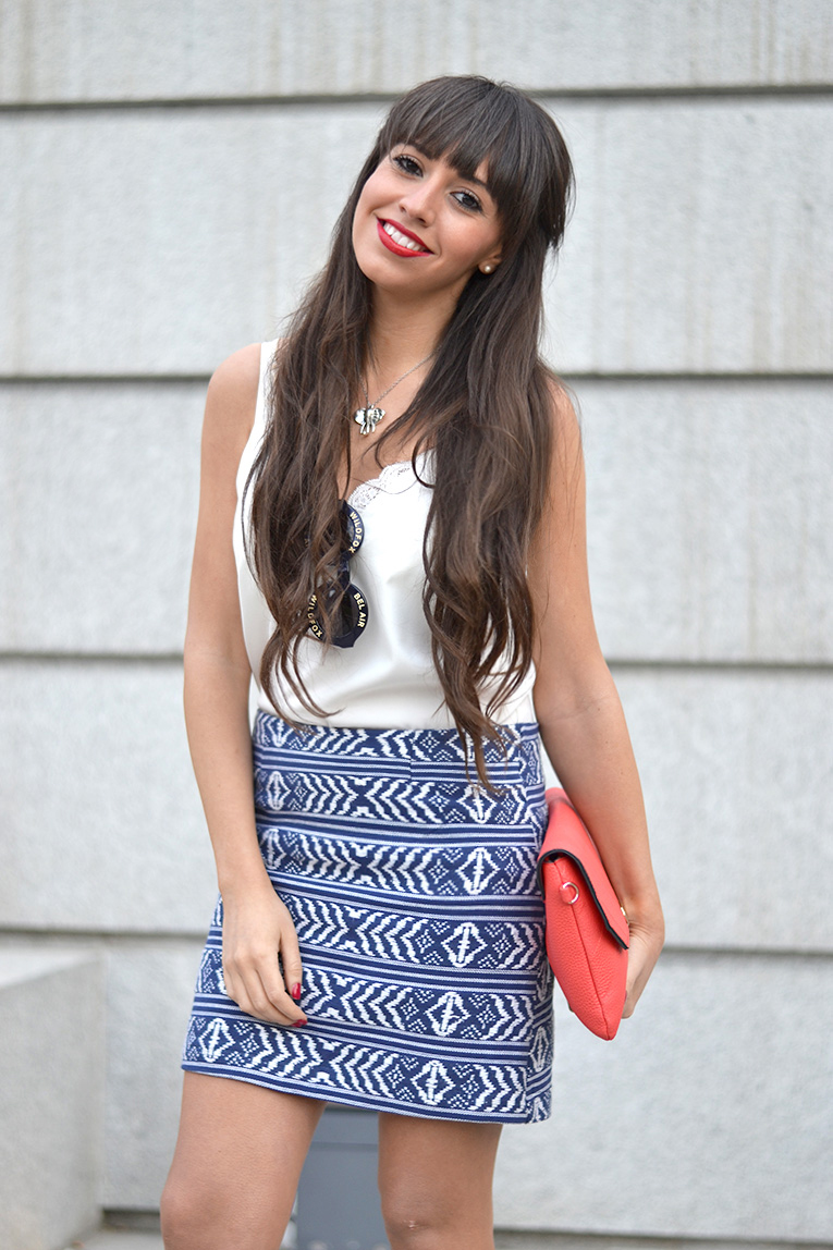 Street style, ethnic skirt, denim shirt, message shirt, quote clothing, white sneakers, lace top, red lips, wildfox sunglasses