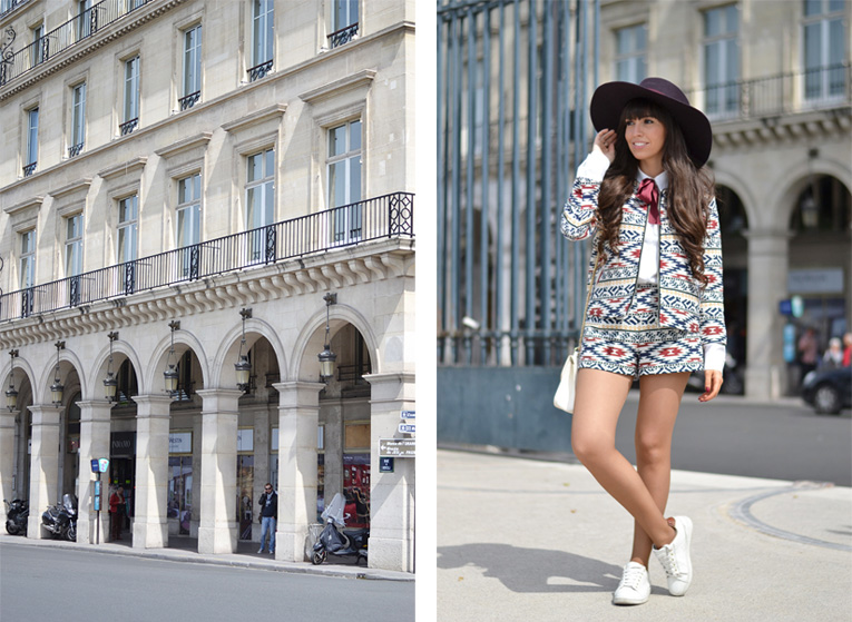 la redoute, paris, street style, white sneakers, matchy matchy, ethnic print, bow in a shirt, burgundy hat,