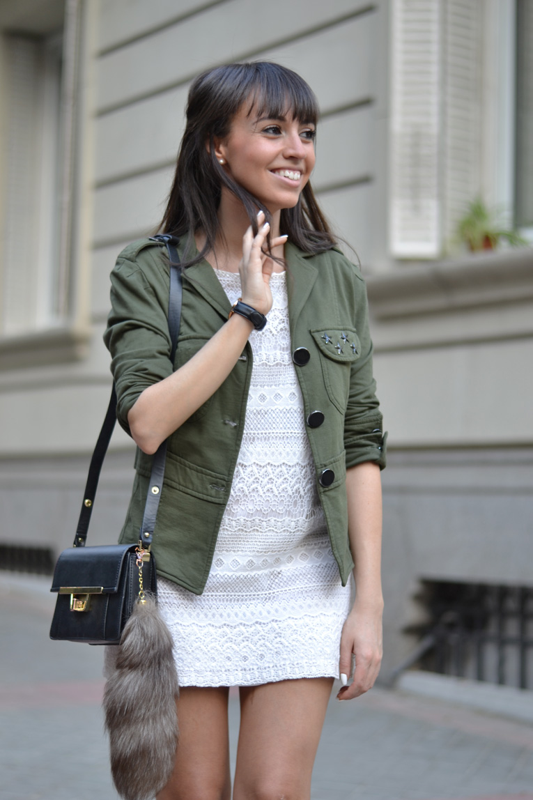 street style, crochet dress, daniel wellington watch, guipur dress, jessica simpson shoes, military jacket, black mules, white dress,