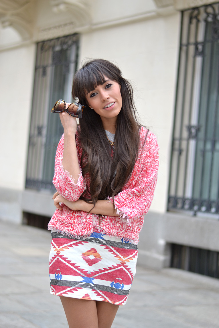 street style, spring outfit, mixing prints, ethnic skirt, white sandals, boho style, blanche & mutton sunglasses