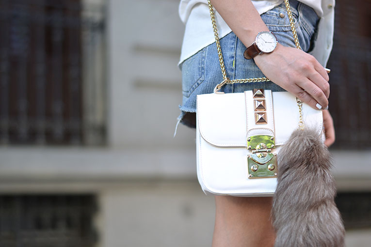 daniel wellington watch, white bah, outfit, street style, details