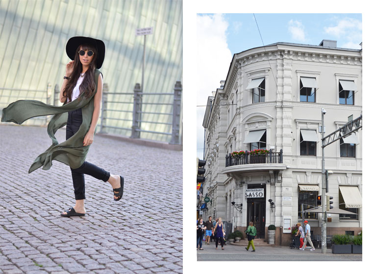 Trip to Finland, Helsinki, street style, black hat, ugly shoes, longline blouse, round glasses