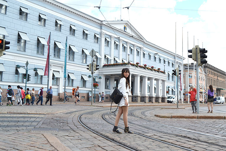 Visit Finland, Helsinki, street style, white playsuit, studded boots, white short jumpsuit