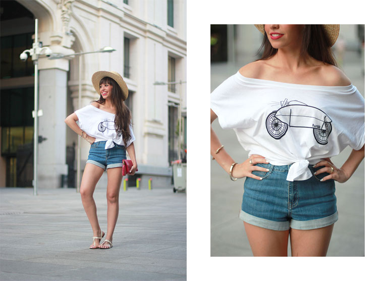 Summer outfit, street style, knotted top, humble spain, collaboration, hat, crop top, high waisted shorts
