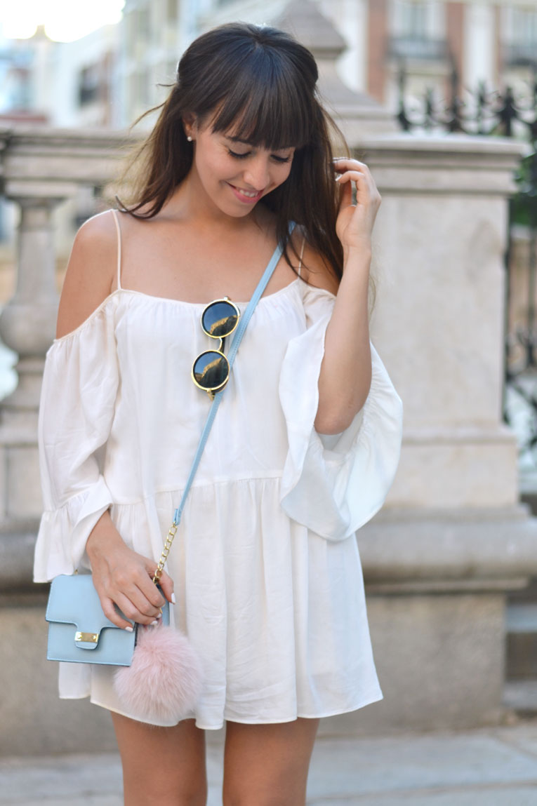 Street style, total white, chunky shoes, off the shoulder, bardot dress, furry bag, rounded sunglasses, playsuit, bag pompom