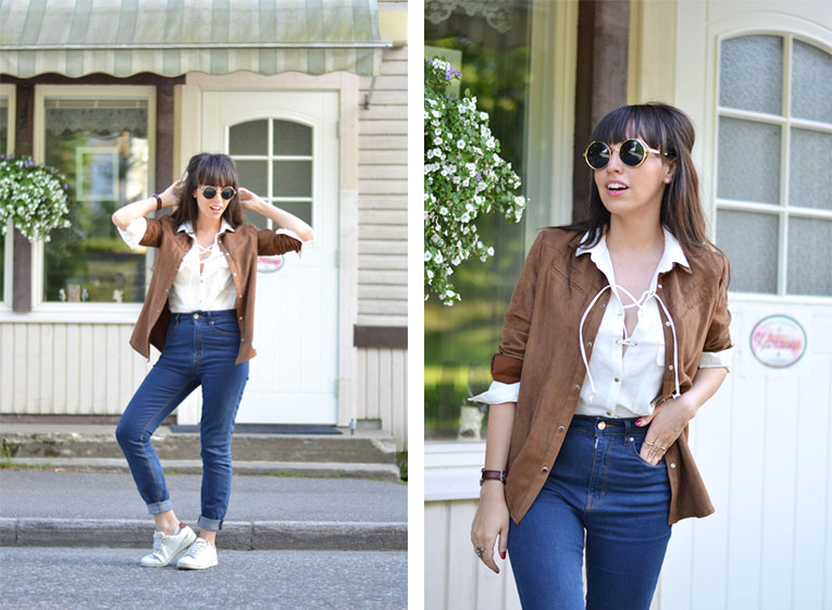 Street style, suede shirt, lace up blouse, high waisted jeans, round sunglasses, white sneakers