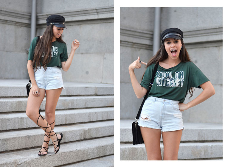Street style, tipography t-shirt, lace up shoes, text tee, high waisted shorts, military cap, ear cuff