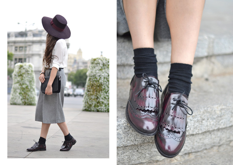 Street style, autumn trends, la redoute hiver 15, moccasins, culotte pants, bow tie, burgundy hat,