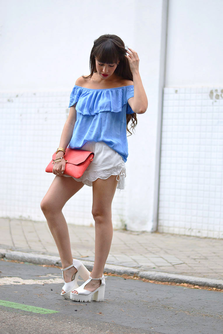 Street style, bardot top, off the shoulders, chunky shoes, white sandals, baby blue
