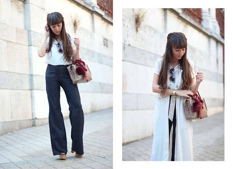 Street style, girl outfit, Flared pants, jeans, denim, long vest, trench