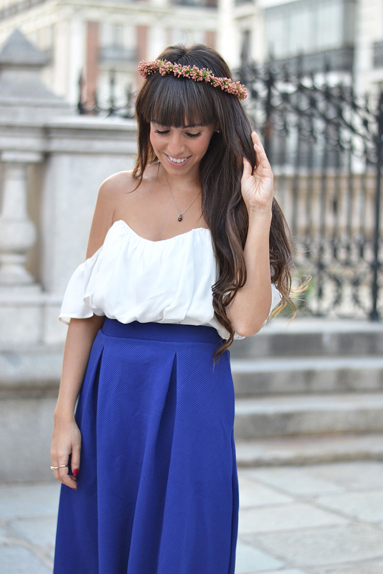 Dress up outfit, wedding, floral crown, midi skirt, off the shoulder top, bardot top, giveaway