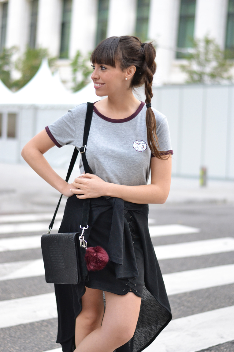 street style, braid ponytail, lace up skirt, unicorn t-shirt, pom pom bag