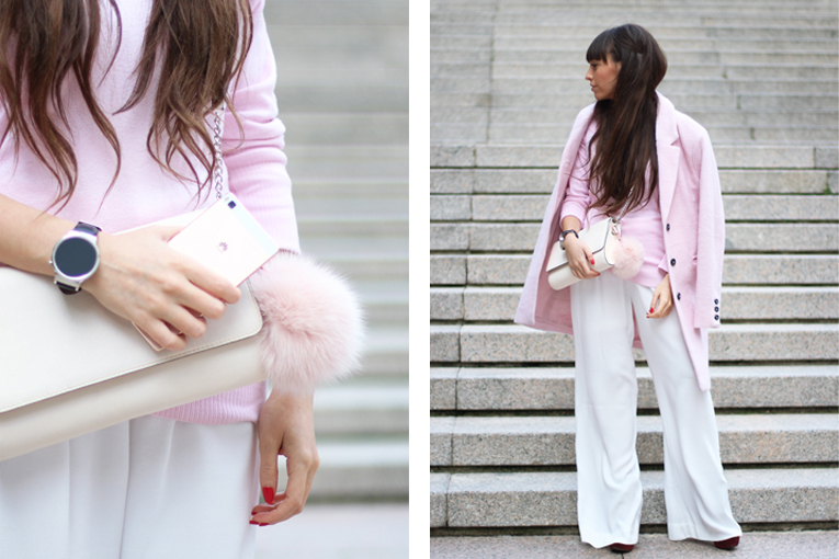 Huawei P8 Lite rosa, street style, palazzo pants, pink coat, of the shoulders sweater, smartwatch