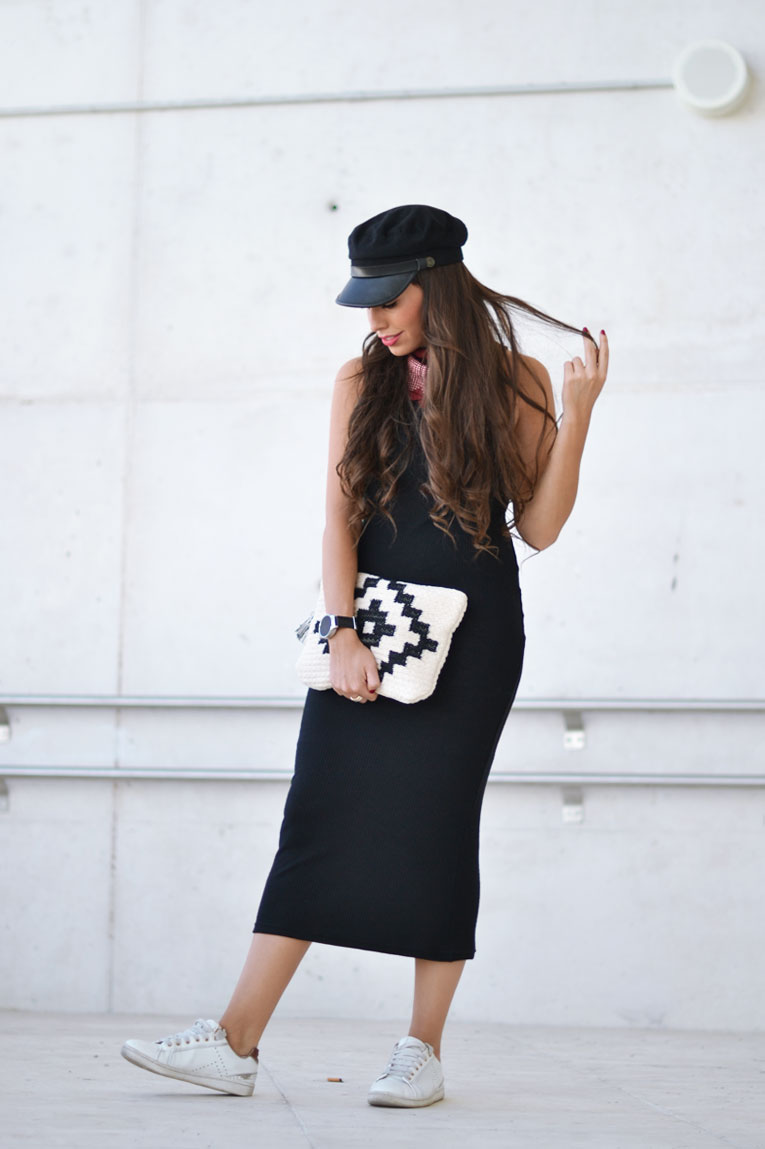 Midi pencil dress, military cap, white sneakers, ethnic bag, small scarf, street-style, MBFW,