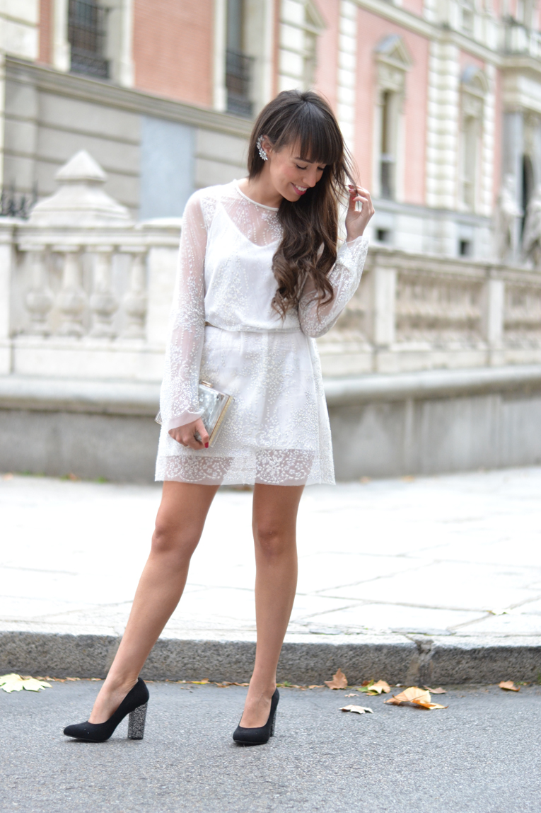 sheer mesh dress, white dress, trasparent, glitter, street-style, earcuff