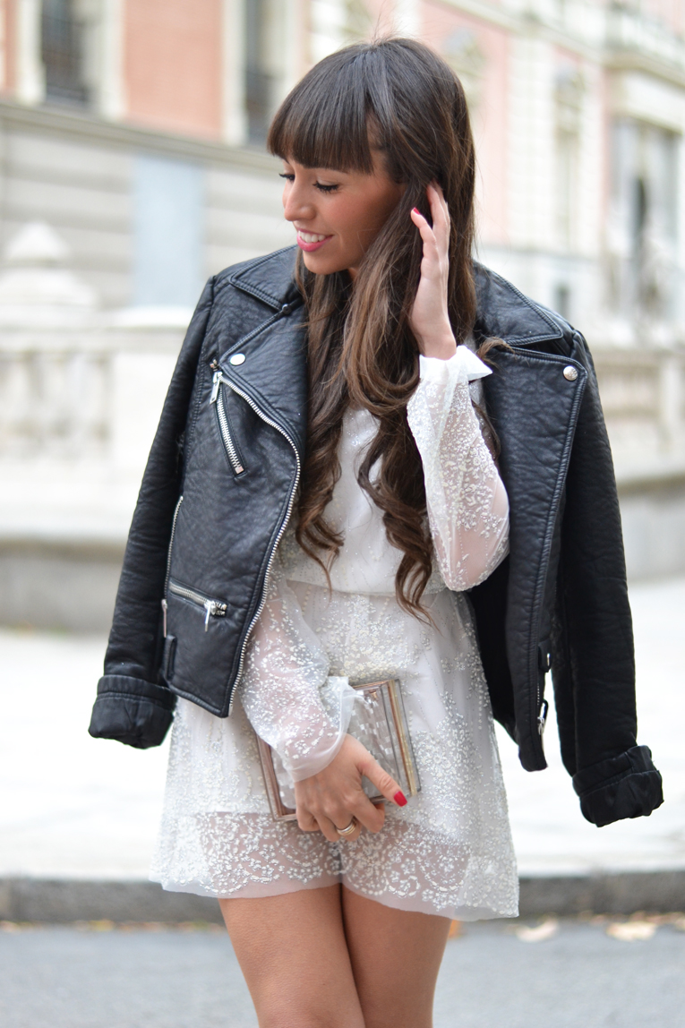 sheer mesh dress, white dress, trasparent, glitter, street-style, earcuff, leather jacket