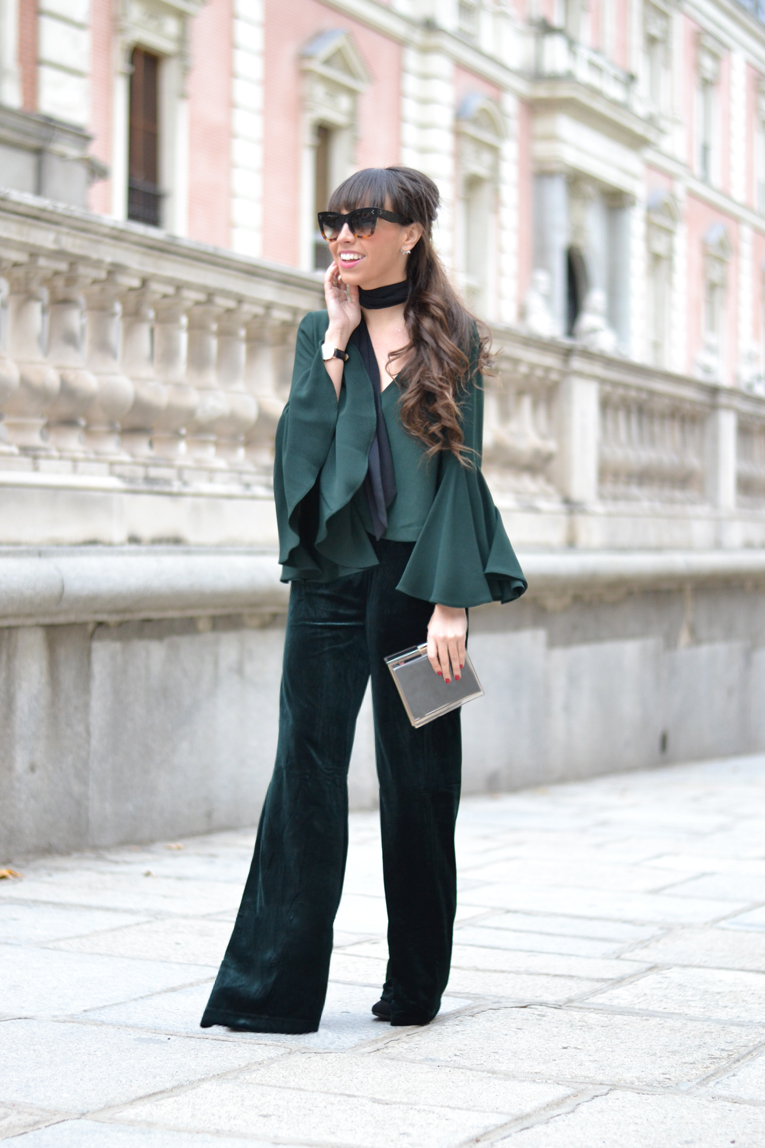 velvet flared pants wear wild