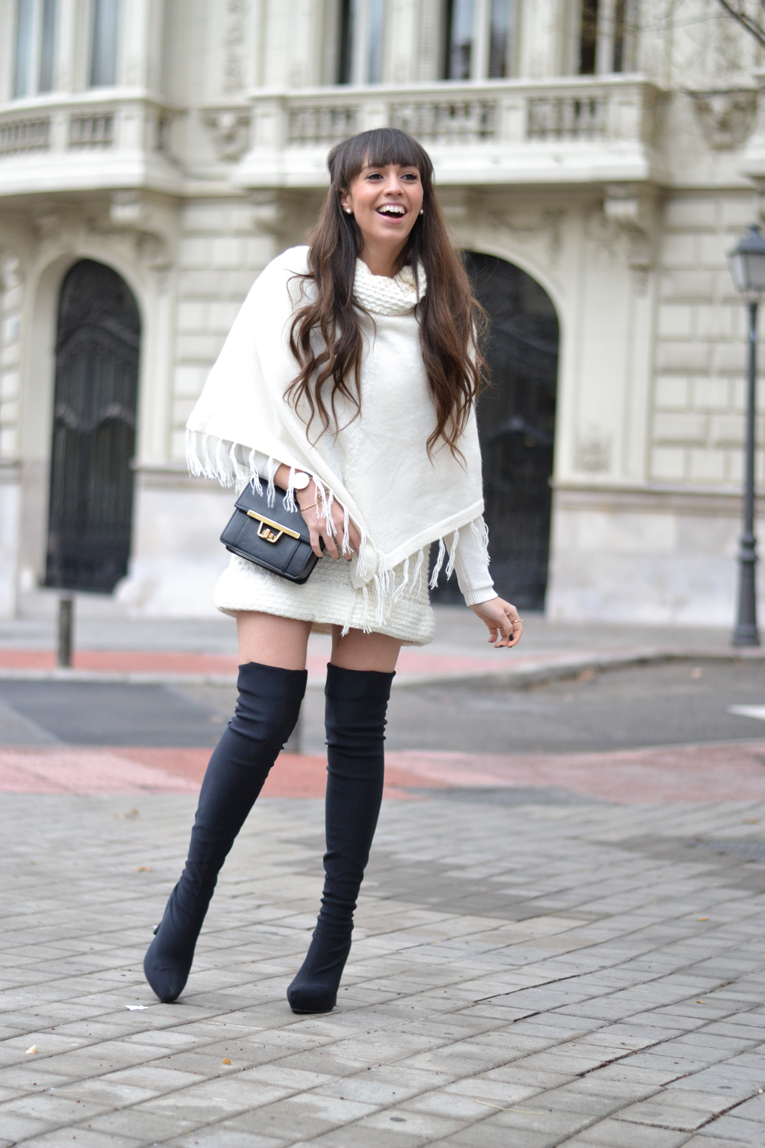 Street style, winter outfit, over the knee boots, black and white outfit, white cape