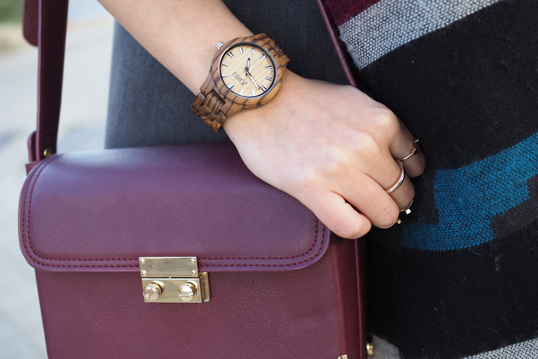 Street style, gold accessories, burgundy bag, wood watch