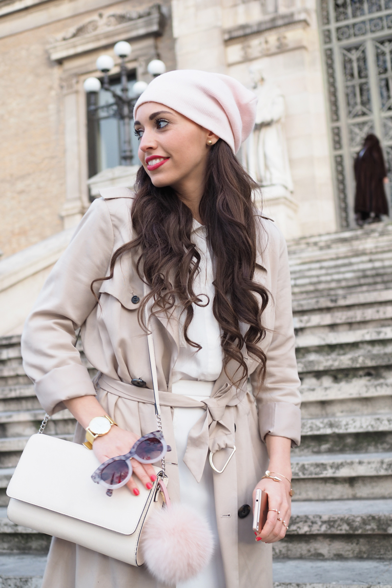 Street style, trench coat outfit, light colors look, pink beanie