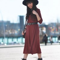 Street style, boho style, midi dress, long coat, black hat