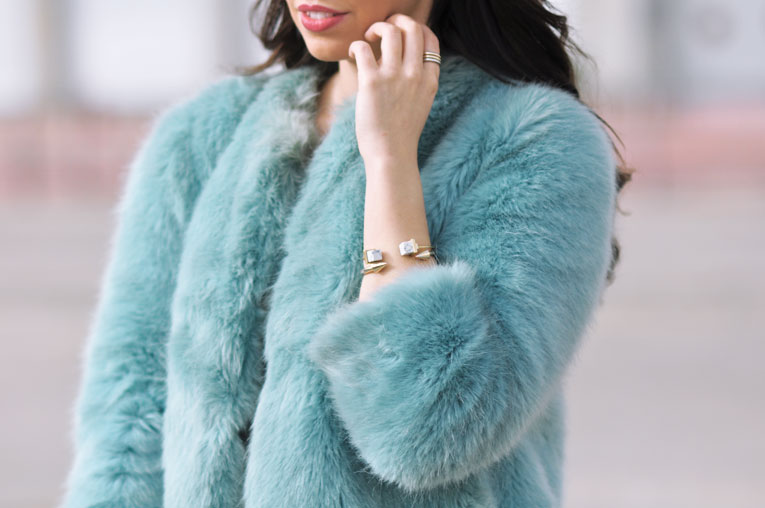 Street style, soft colors, faux fur blue coat, boho coins hat, white sneakers, comfy outfit