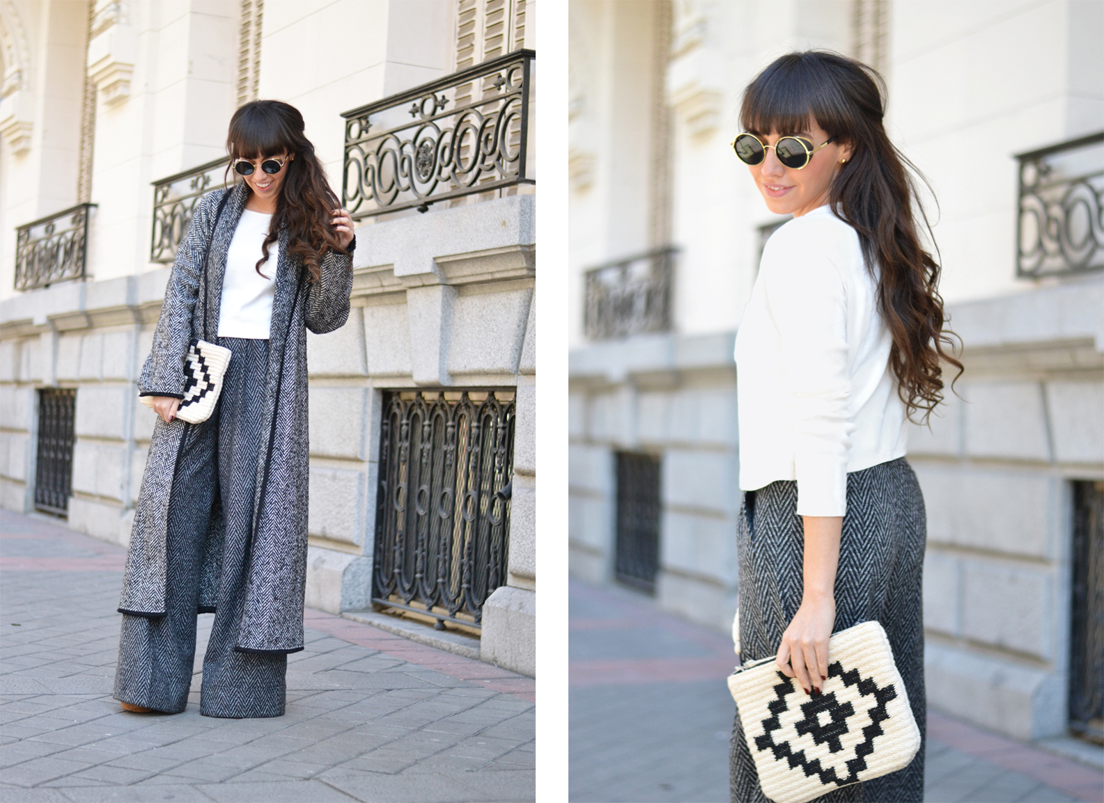 Street style, matchy-matchy style, co-ord outfit, winter palazzo pants, long coat