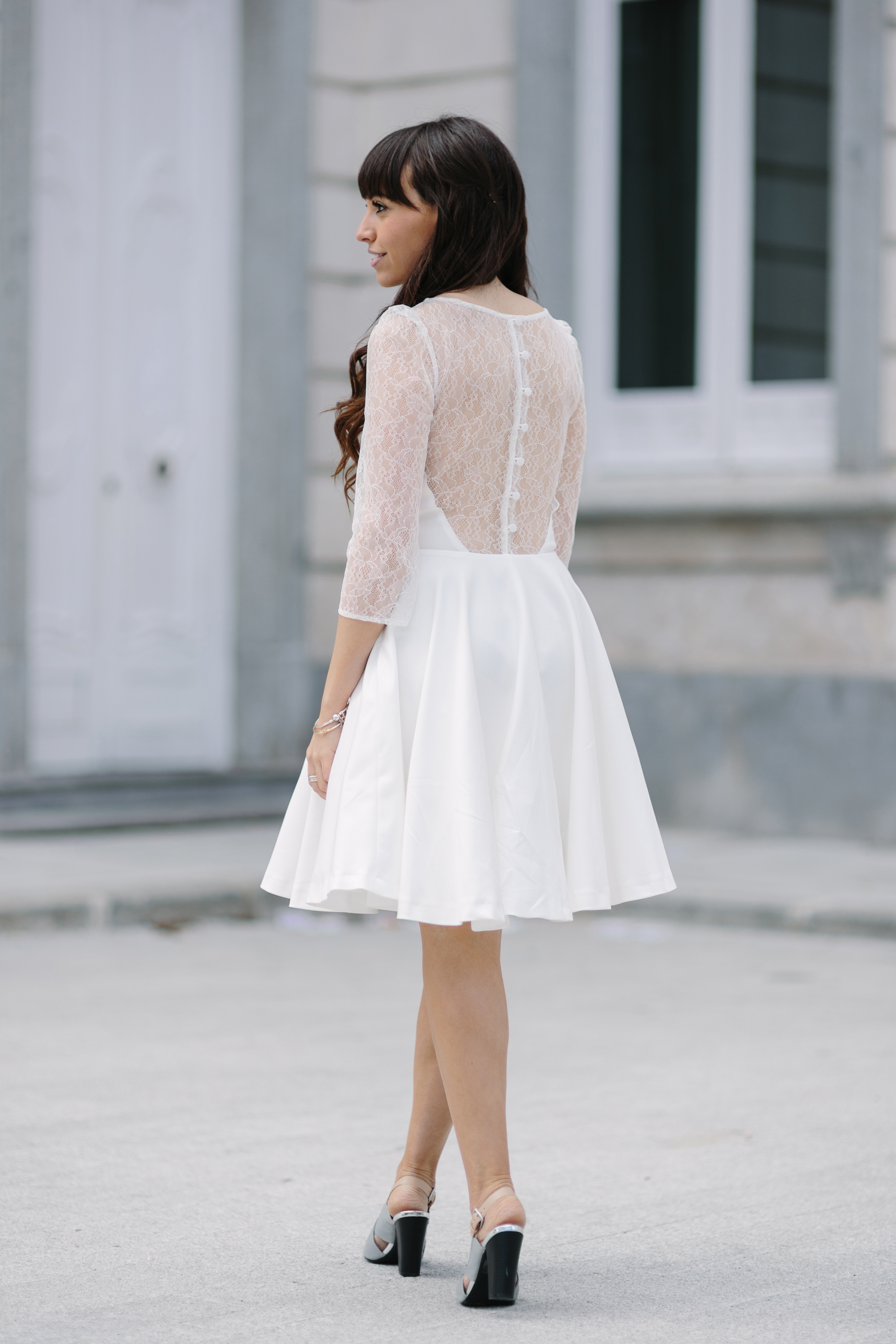 Short white Wedding Dress, street-style, ceremony outfit, la redoute