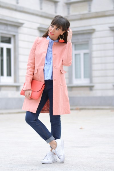 Spring outfit, street style, cut out shoulder shirt, coral earrings, coral coat from La Redoute, white sneakers