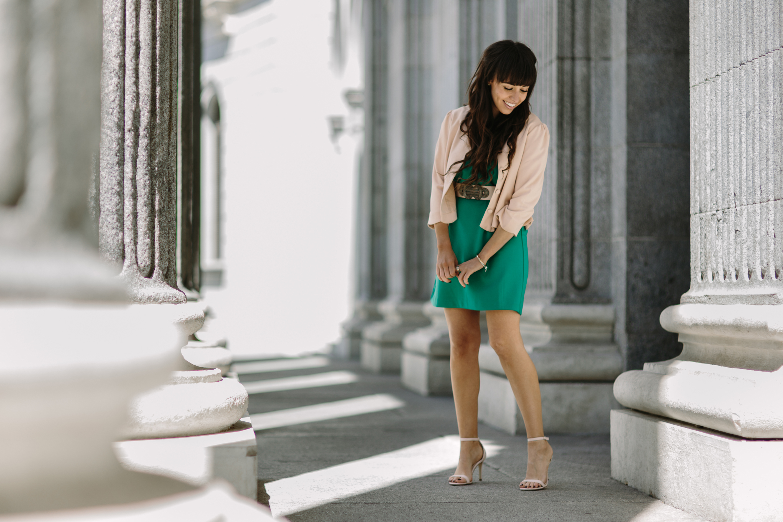 Mixing colors, green dress, street-style, ceremony outfit, couple outfit, la redoute