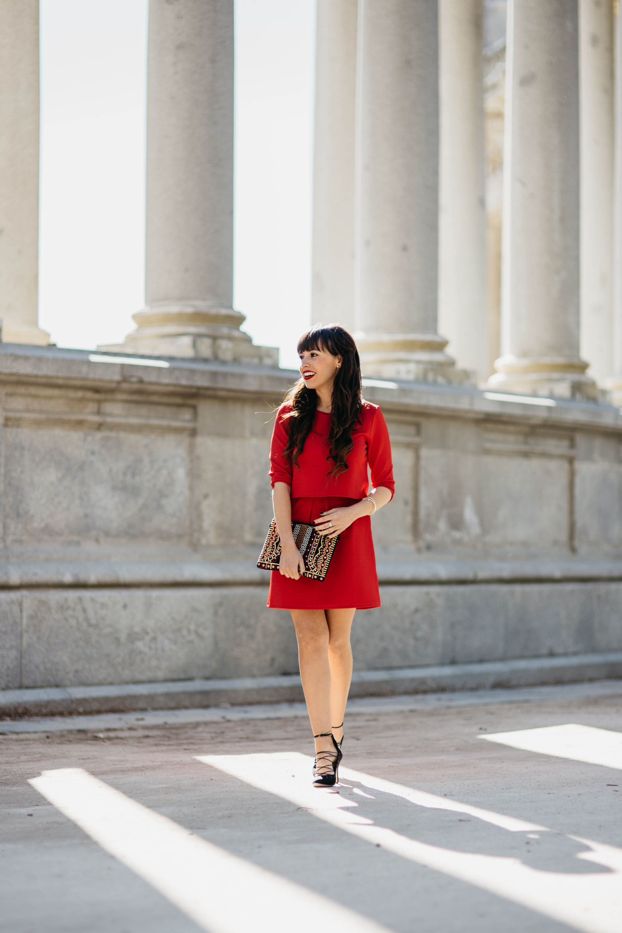 Street style, ceremony outfit, red dress, lace up heels, ethnic bag, We say oui look