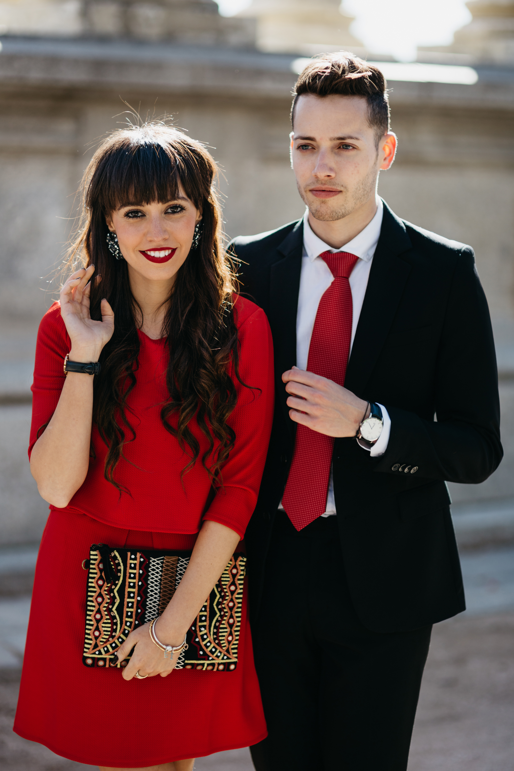 Street style, couple ceremony outfit, red dress, We say oui look