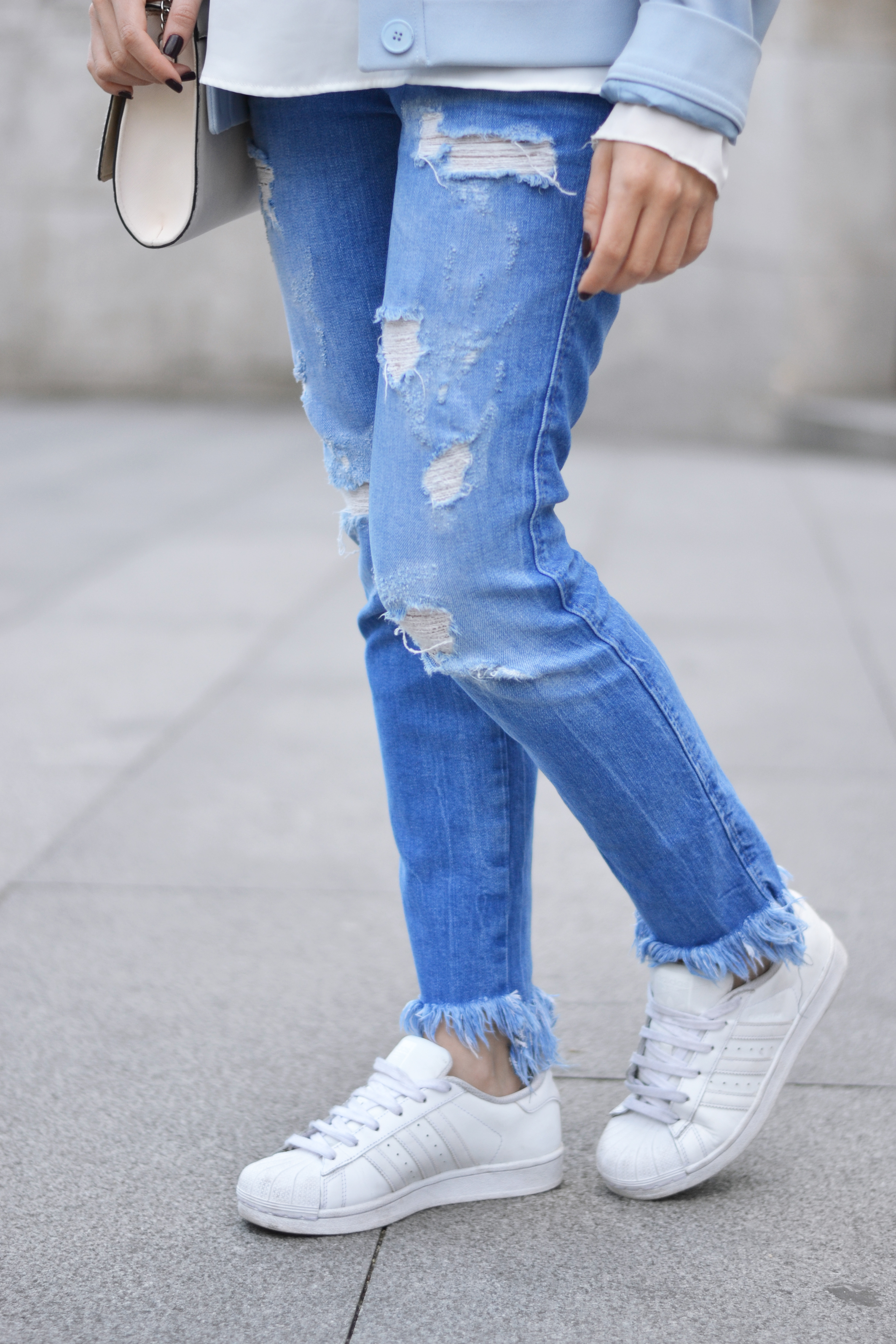 denim pants style, baby blue jacket printed scarf, carven pour la redoute jacket, street style outfit