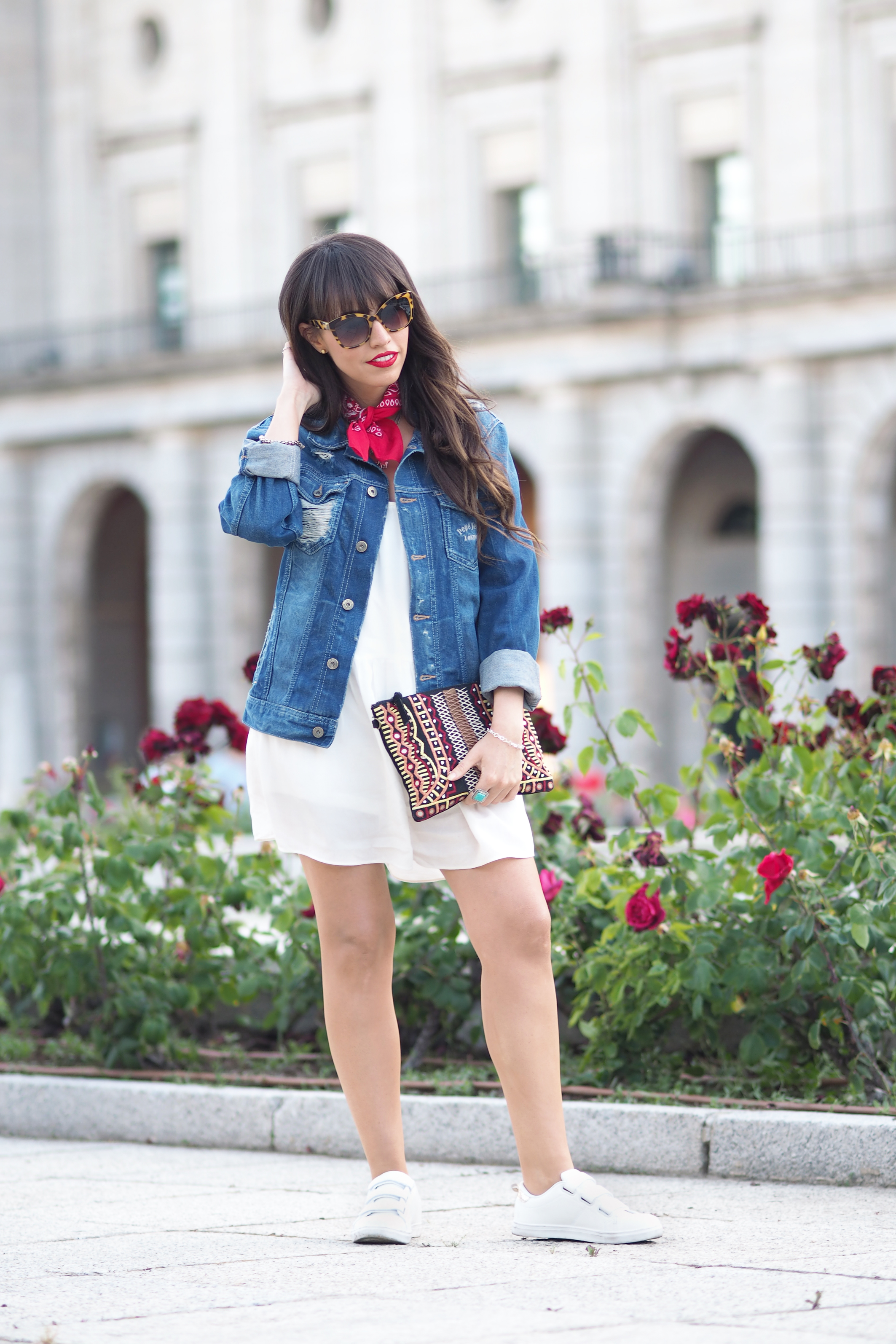 Street style, denim jacket, summer outfit, white jumpsuit, red bandana,