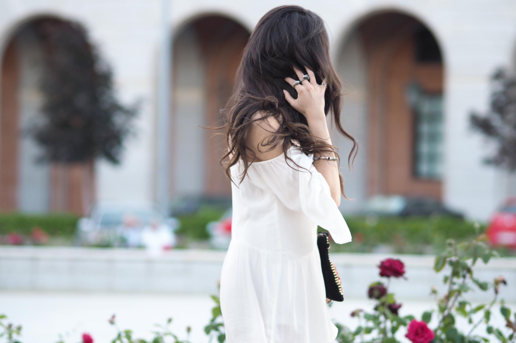 Street style, denim jacket, summer outfit, white jumpsuit, red bandana,