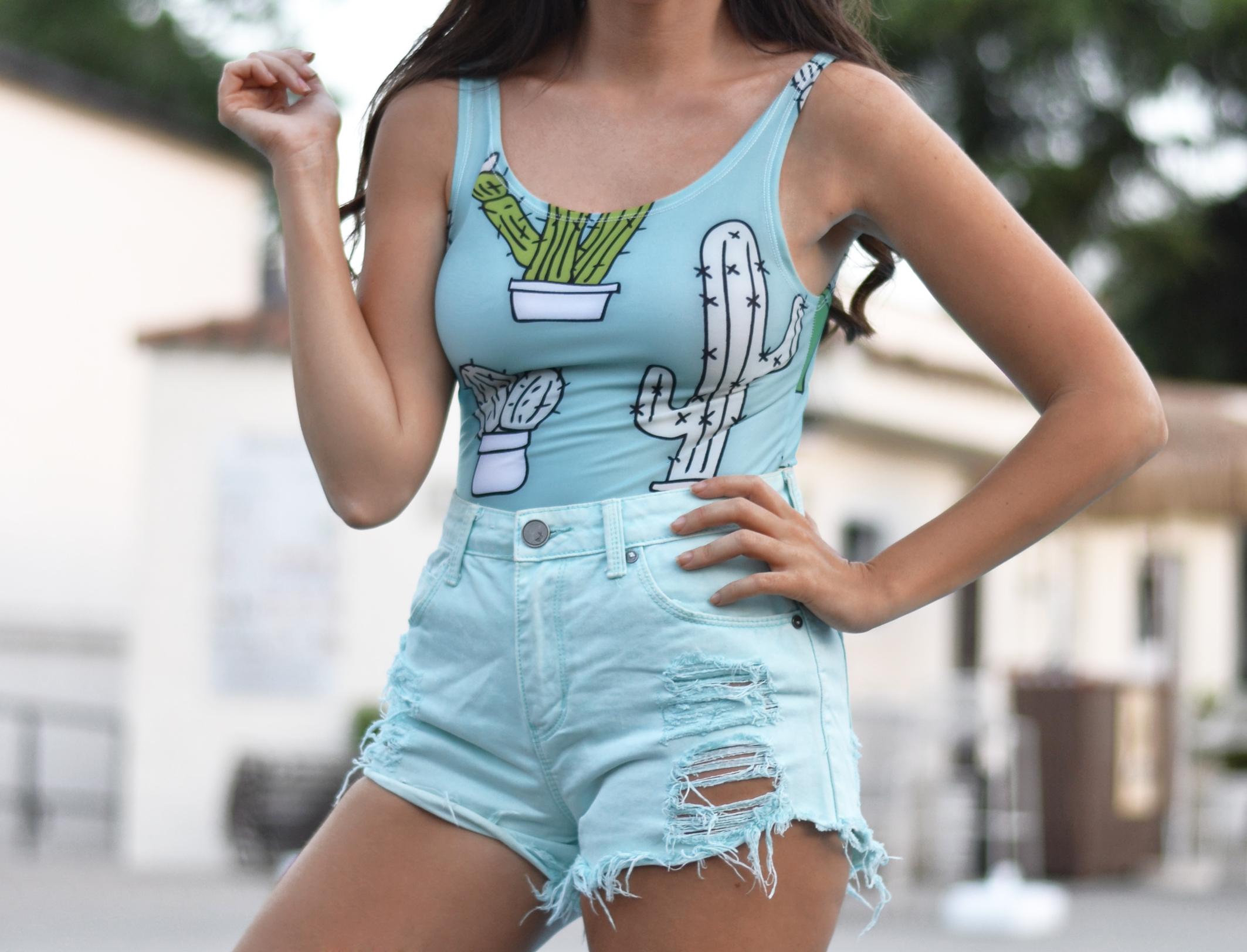 Cactus swimsuit, summer outfit, swimwear, batoko shop, mint shorts