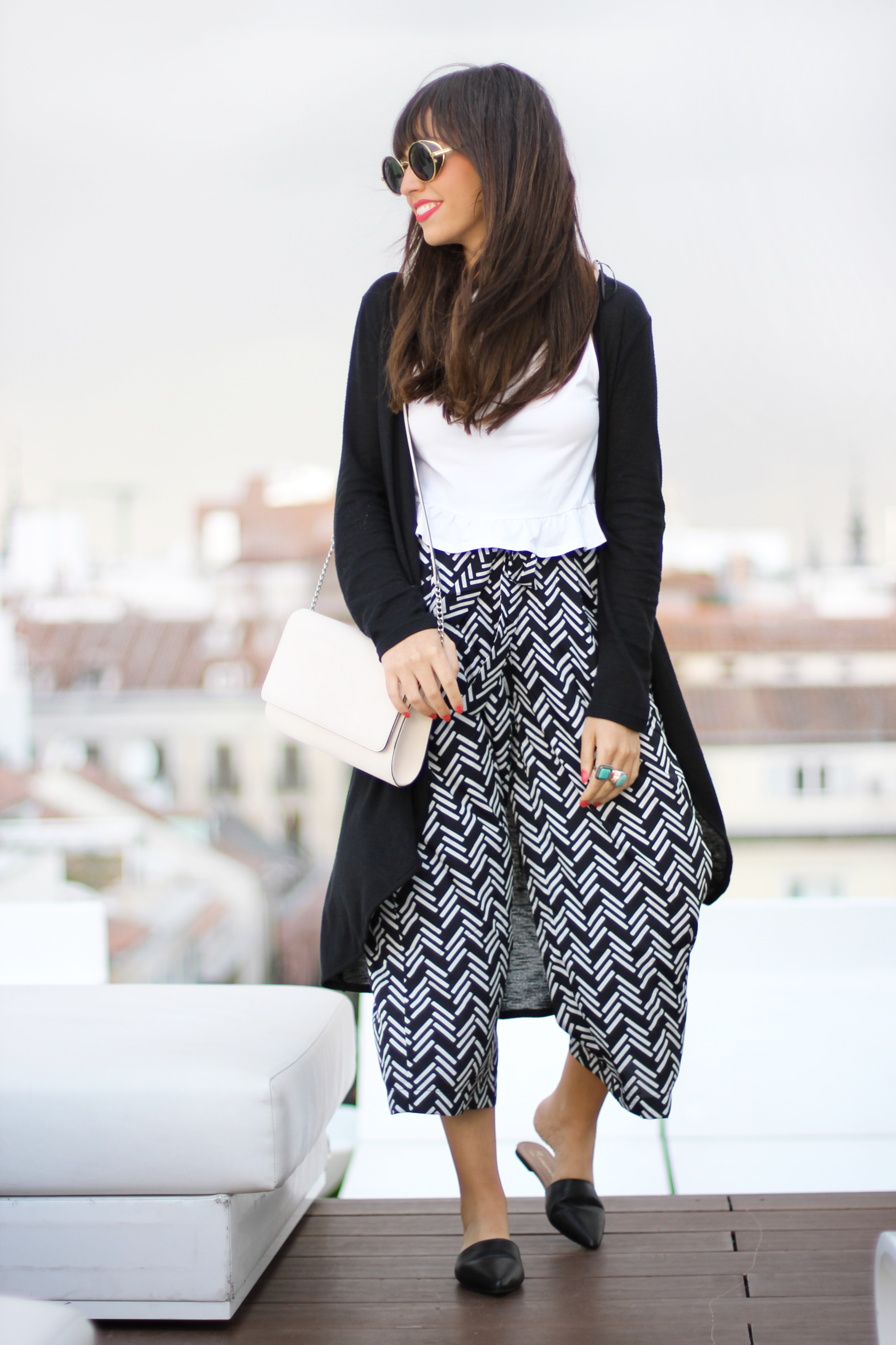 Street style, ethnic culotte pants, long jacket, summer outfit
