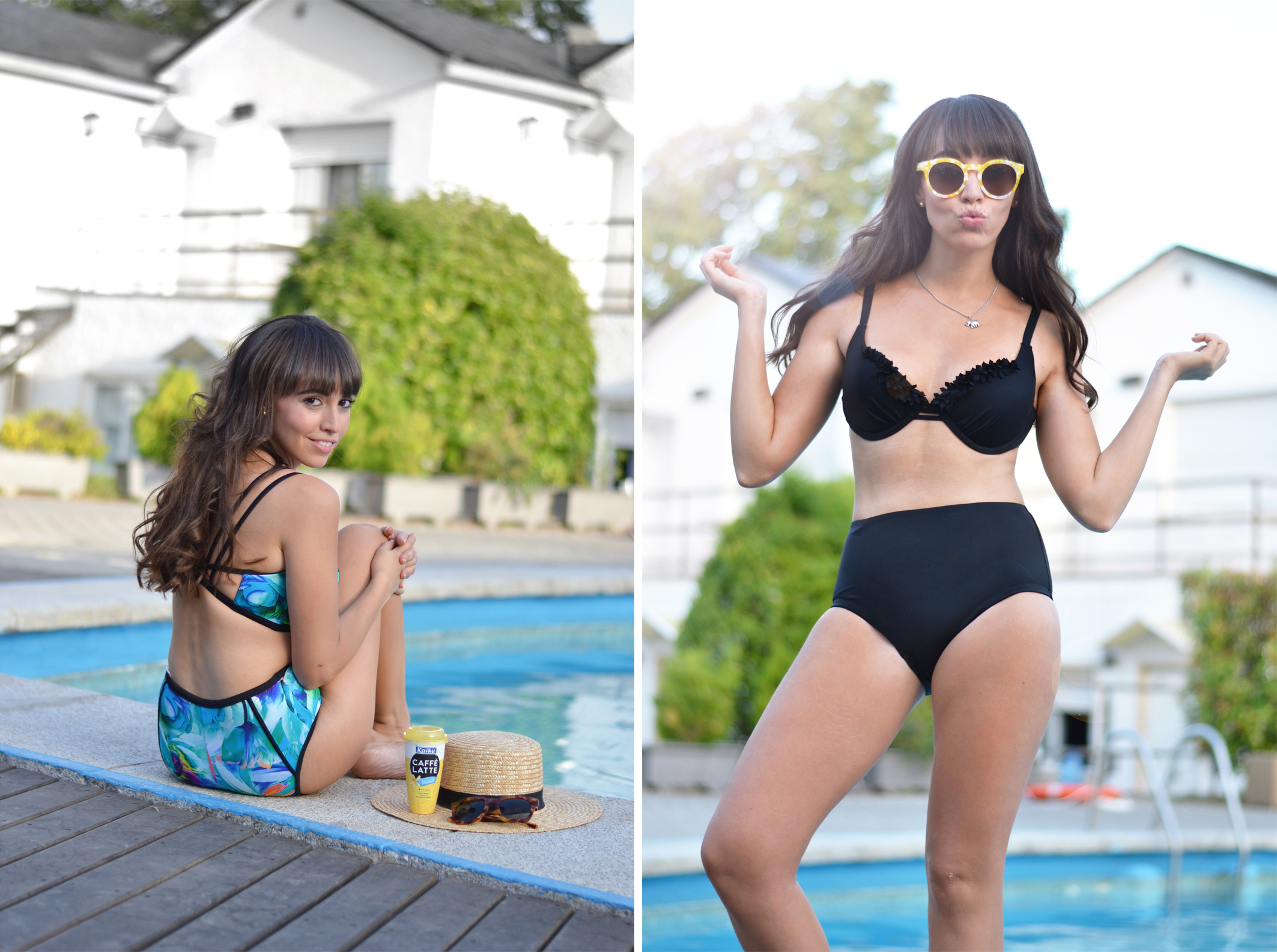 Swimwear, Dolores Cortes, retro high waist bikini, summer outfit, street style swimingpool