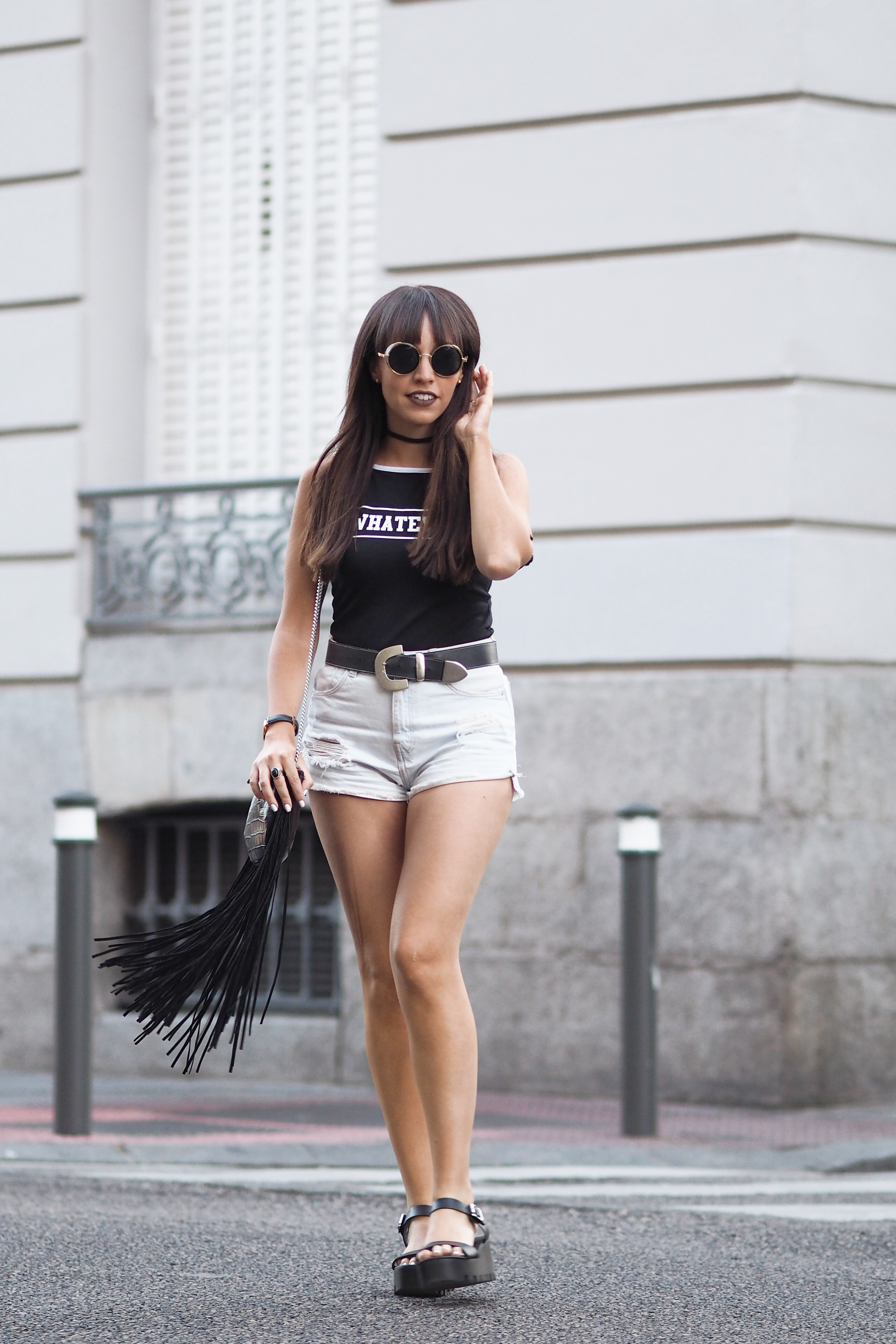 black bodysuit whatever, ripped denim shorts, chunky sandals, chocker necklace, summer outfit, street style