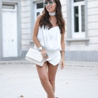 Summer outfit, street style, total white, choker, mint sandals, marble watch