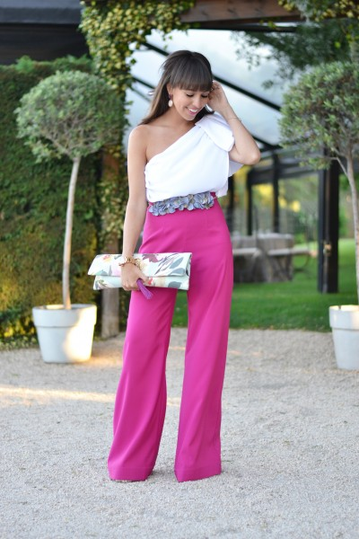 Summer wedding, wedding outfit, ceremony street style, palazzo pants, flower belt,