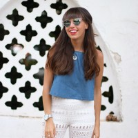 crochet pants, denim-top, summer outfit, street style, christian dior sunglasses so real