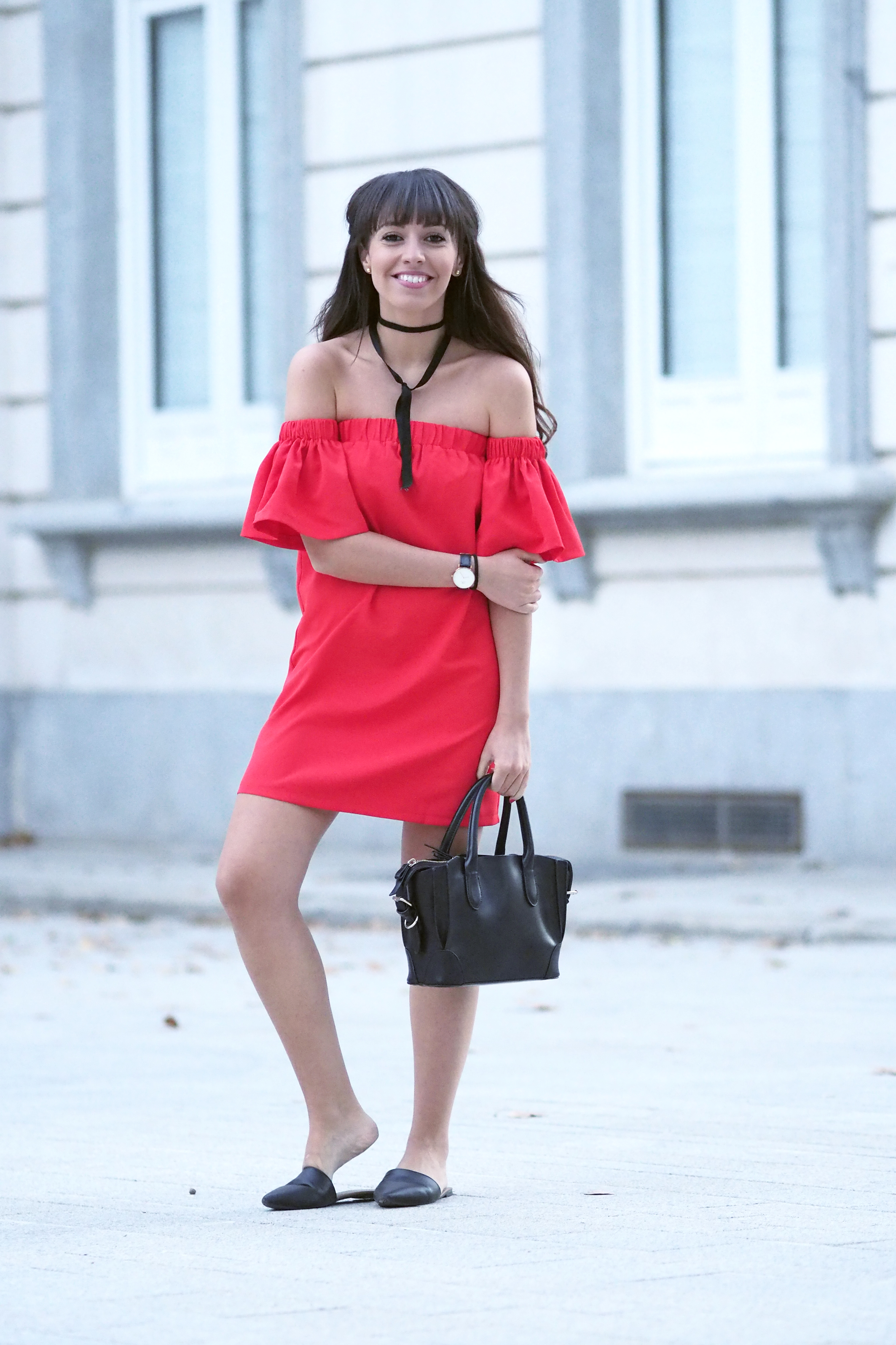 street style, summer outfit, off the shoulders, red dress, bardot, choker