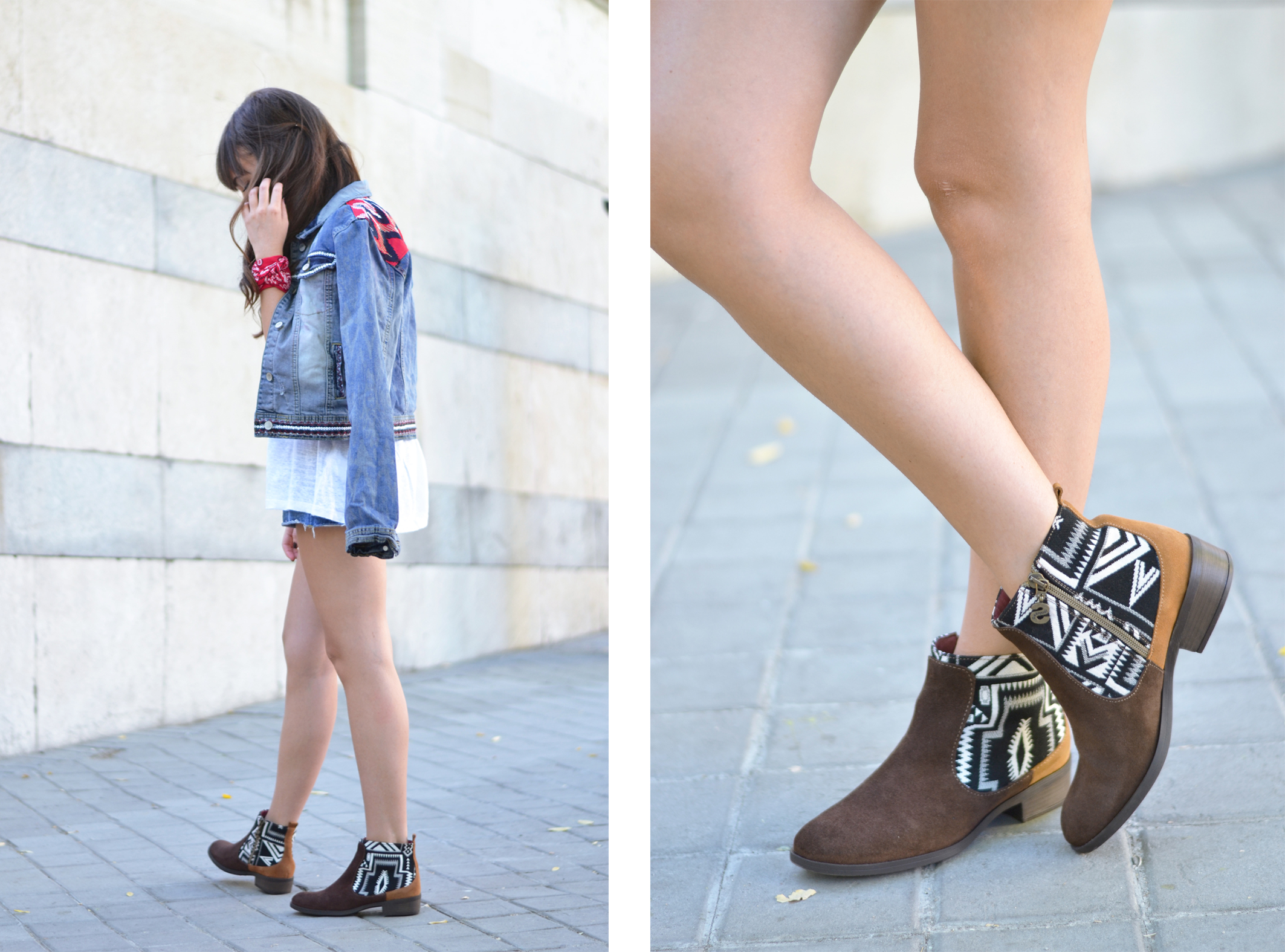 Street style, Outfit, Desigual denim jacket, ethnic print boots, red hat